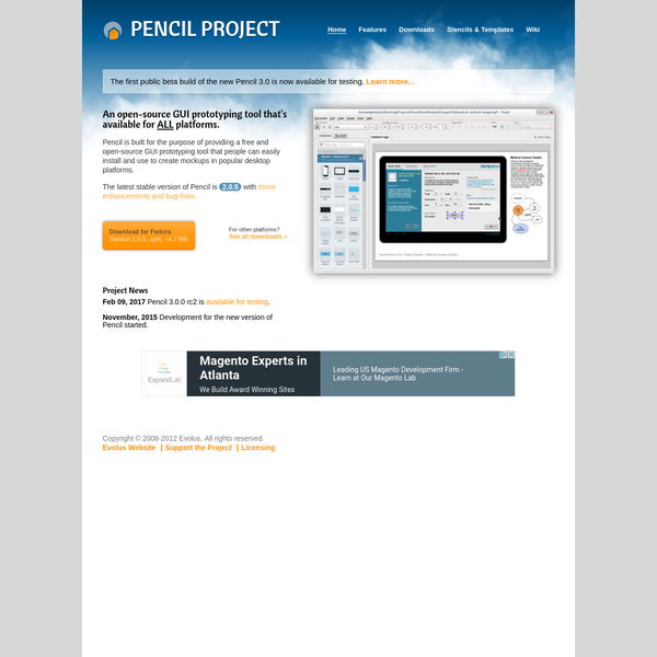 Pencil is built for the purpose of providing a free and open-source GUI prototyping tool that people can easily install and use to create mockups in popular desktop platforms.