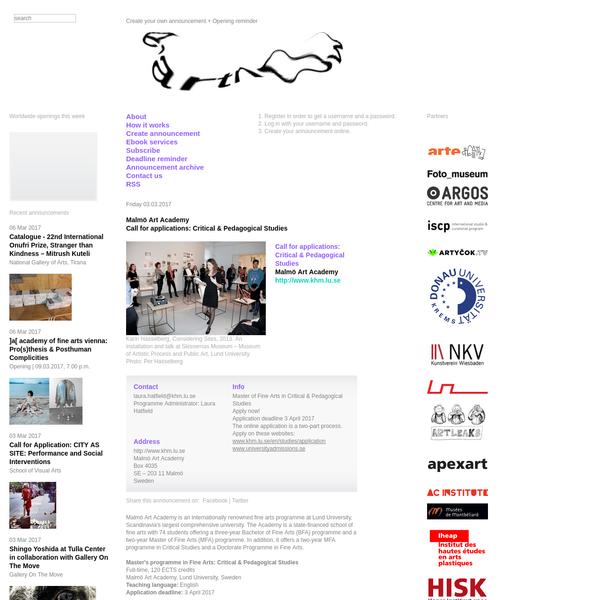 Malmö Art Academy Call for applications: Critical & Pedagogical Studies