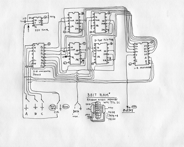 Taeyoon builds his computer one piece at a time. Here is the schematic for his 8-bit Random Access Memory.  From above, it looks like a tiny city.