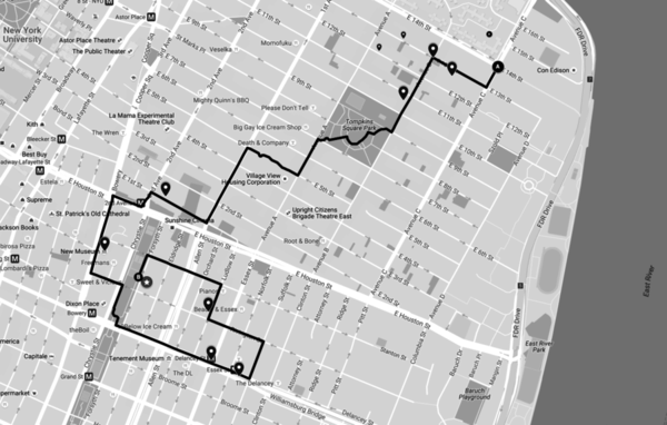 This is our walking route through the Lower East Side. After college Christine lived and worked in the neighborhood for several years, so her route began in the same location as Neuhaus' first walk, 14th st. & Avenue C, and then stopped at various locations of importance to her.