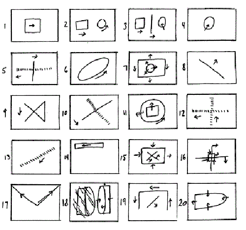Similarly, this choreographic notation by Yvonne Rainer, entitled [*People Plan*](http://www.ubu.com/aspen/aspen8/threeDistributions.html) was included in Aspen No. 8, along with her *Lecture on Moving*, both of which invited readers to participate by performing their own renditions.