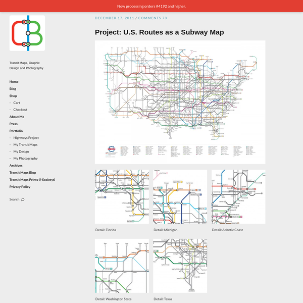 Us Highway As A Subway Map.The Interstate System