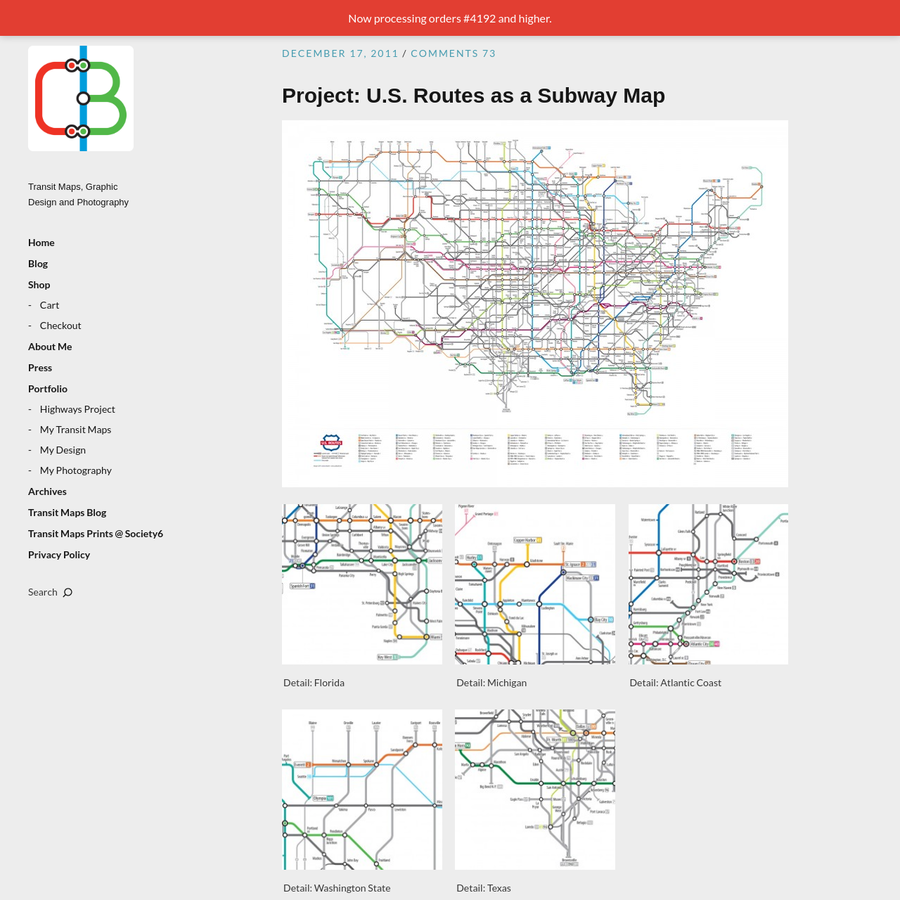 At long last, I present the latest in my series of transit map-styled designs. This time, we have the U.S. Highway system (that's U.S. Routes, not to be confused with the newer Interstate Highway system - which as most of you well know, I have already mapped).