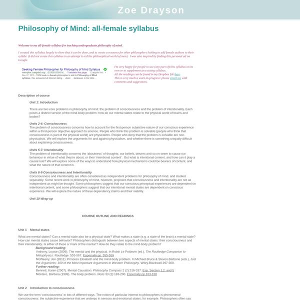 Philosophy of Mind: all-female syllabus