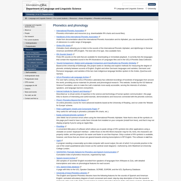 Phonetics and phonology - Language and Linguistic Science, The University of York