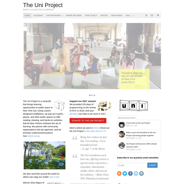 The Uni Project is a nonprofit that brings learning opportunities to public space in New York City. Using custom-designed installations, we pop up in parks, plazas, and other public spaces to offer reading, drawing, and hands-on activities that let New Yorkers embrace the act of learning.