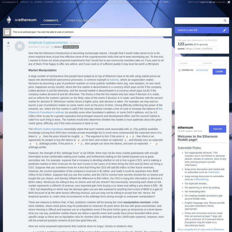 Now that the Ethereum infrastructure is becoming increasingly mature, I thought that it would make sense to try to do some empirical tests of just...