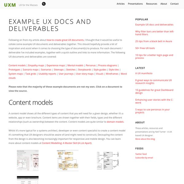 Following on from my article about how to create great UX documents, I thought that it would be useful to collate some example UX documents and deliverables together. This should hopefully provide a bit of inspiration and assist when it comes to choosing the type of document(s) to produce.