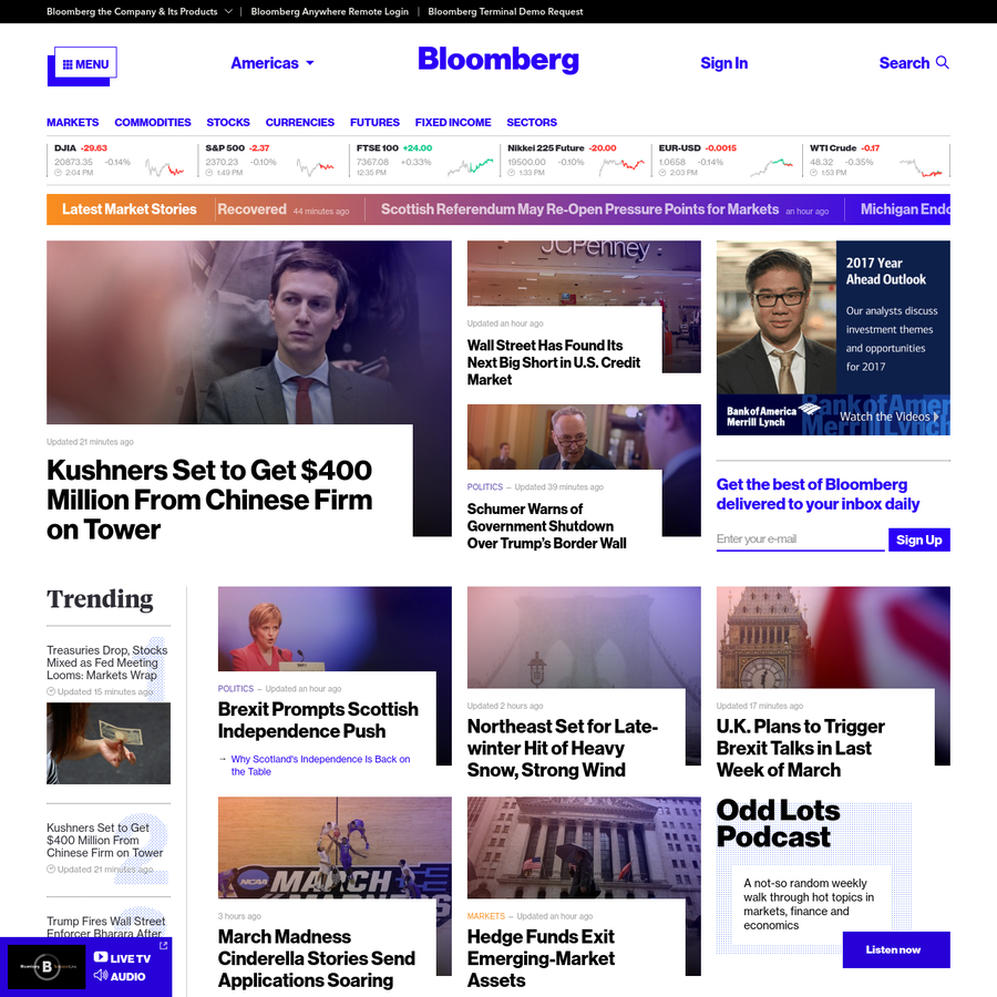 Bloomberg delivers business and markets news, data, analysis, and video to the world, featuring stories from Businessweek and Bloomberg News