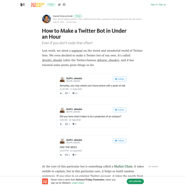 How to Make a Twitter Bot in Under an Hour - Science Friday Footnotes