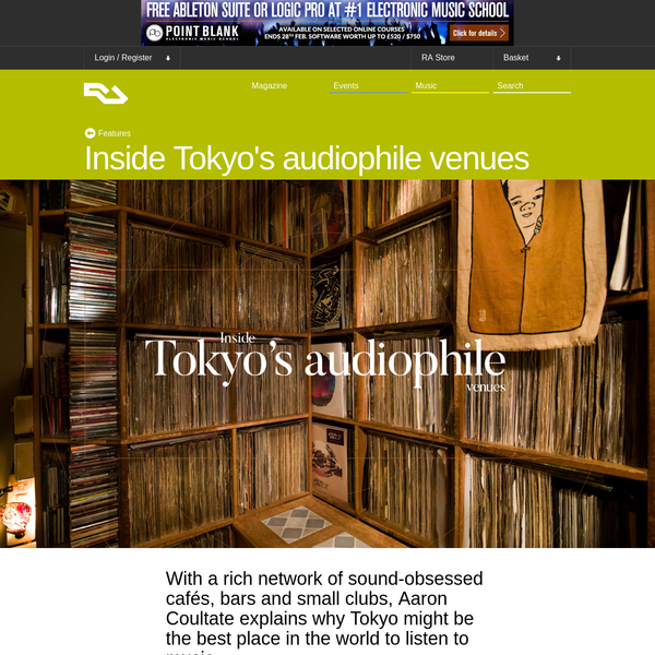 With a rich network of sound-obsessed cafés, bars and small clubs, Aaron Coultate explains why Tokyo might be the best place in the world to listen to music. The temperature drops a couple of degrees as the train crosses the Tama River heading toward Mt Fuji.
