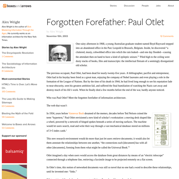 Forgotten Forefather: Paul Otlet