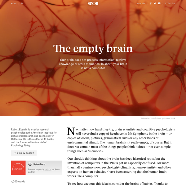 Your brain does not process information and it is not a computer - Robert Epstein   Aeon Essays