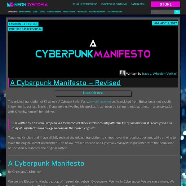 A Cyberpunk Manifesto - Revised | Neon Dystopia