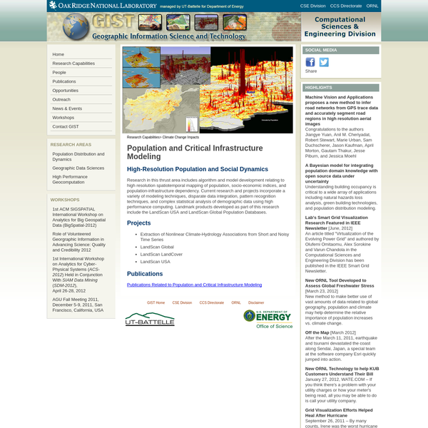 GIST - Research Capabilities - Population and Critical Infrastructure Modeling