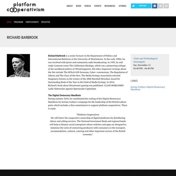 Richard Barbrook: Platform Cooperativism