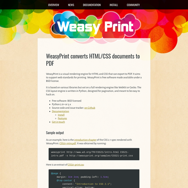 Convert HTML + CSS to PDF.