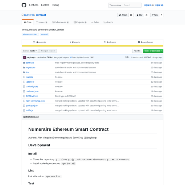 contract - The Numeraire Ethereum Smart Contract
