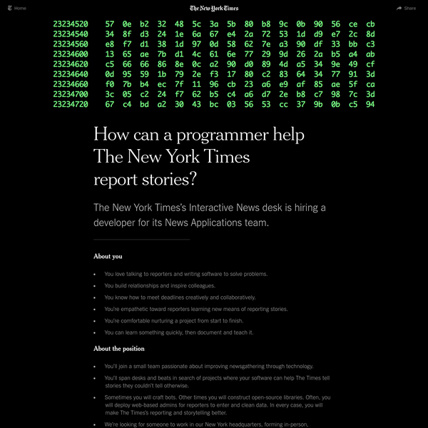 How can a programmer help The New York Times report stories?