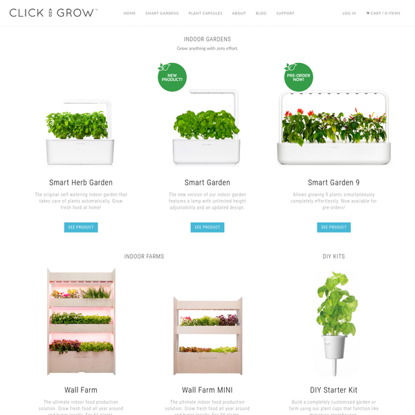 Products for the Click and Grow indoor herb garden kit, including herb seed refills and vegetable packs. Enjoy fresh herbs, vegetables and flowers year round!