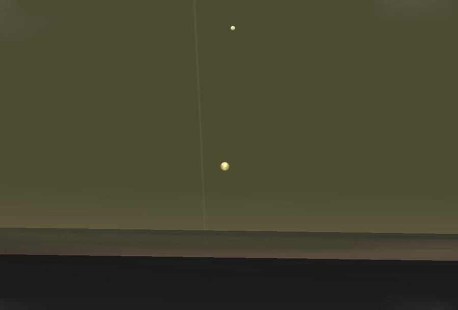 English: Simulated view of Io (below) and Europa as seen from a position high in Jupiter's atmosphere. The rings of Jupiter are visible as a faint arc. The sky colour is speculative. The field of view is 25 degrees. Image created using Celestia, version 1.3.2.