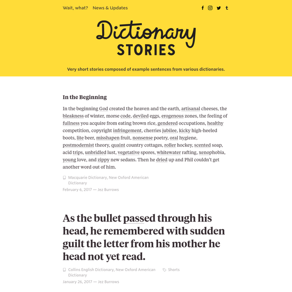 Very short stories composed of example sentences from various dictionaries.