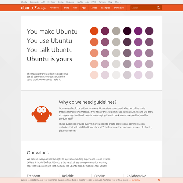Ubuntu brand, app and web guidelines that help you create professional materials, software, sites, apps that build the Ubuntu brand.
