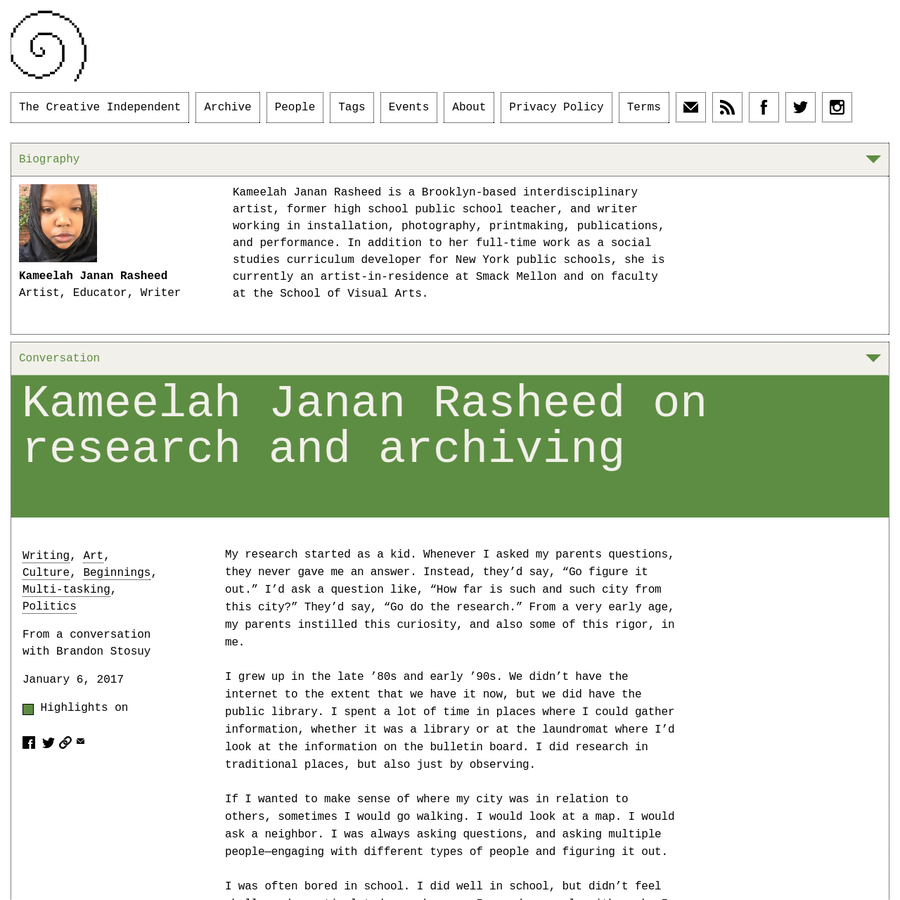 Brooklyn-based interdisciplinary artist Kameelah Janan Rasheed talks about the importance of research and archiving-both personal and academic.