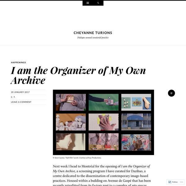 I am the Organizer of My Own Archive