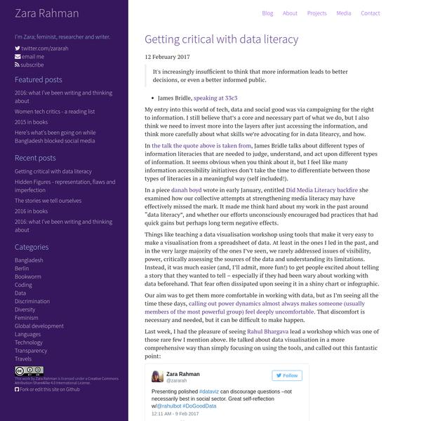 Getting critical with data literacy - zararah.net Zara Rahman