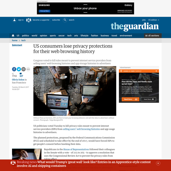 US consumers lose privacy protections for their web browsing history