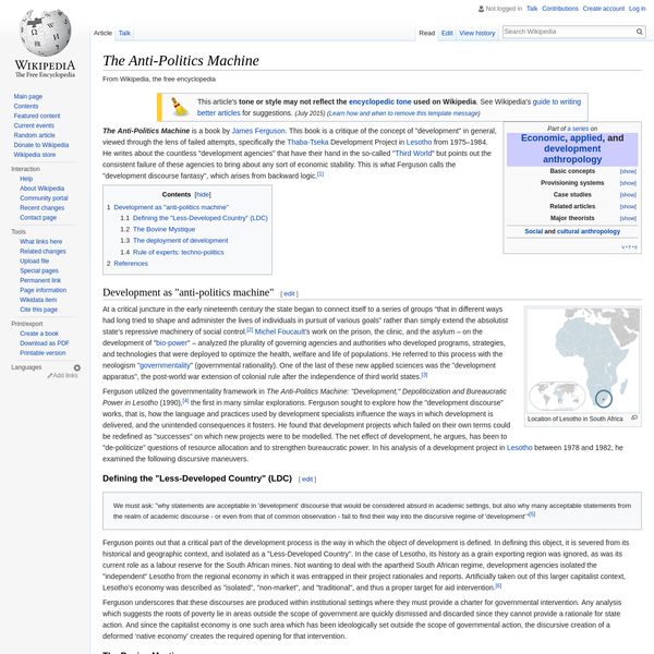The Anti-Politics Machine - Wikipedia
