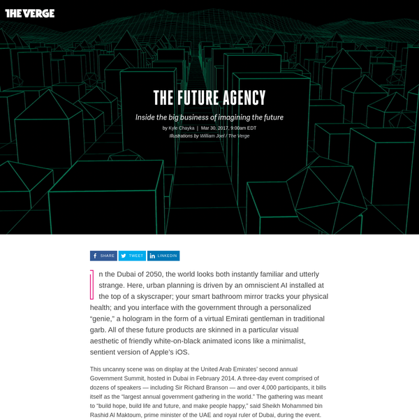 """In the Dubai of 2050, the world looks both instantly familiar and utterly strange. Here, urban planning is driven by an omniscient AI installed at the top of a skyscraper; your smart bathroom mirror tracks your physical health; and you interface with the government through a personalized """"genie,"""" a hologram in the form of a virtual Emirati gentleman in traditional garb."""