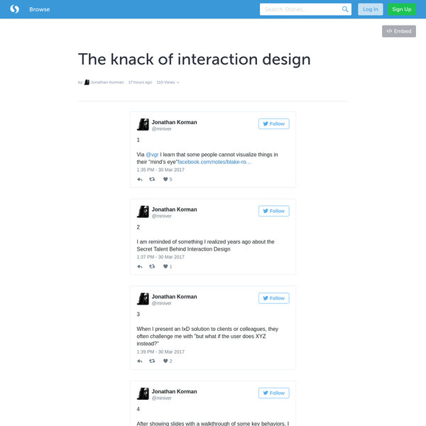 The knack of interaction design (with tweets) · miniver
