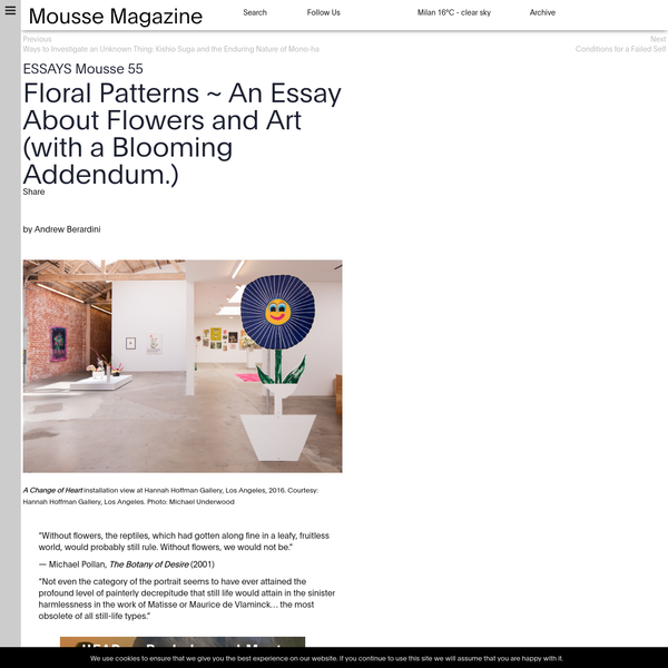 Floral Patterns ~ An Essay About Flowers and Art (with a Blooming Addendum.)