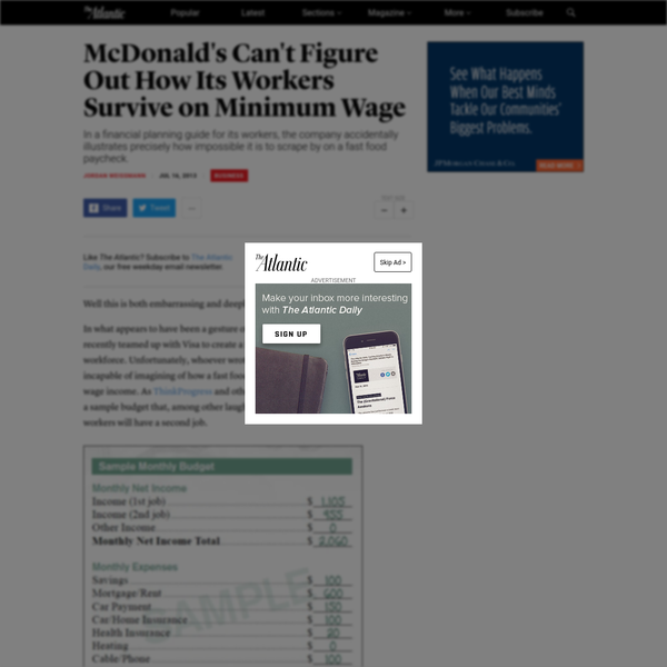 Well this is both embarrassing and deeply telling. In what appears to have been a gesture of goodwill gone haywire, McDonald's recently teamed up with Visa to create a financial planning site for its low-pay workforce. Unfortunately, whoever wrote the thing seems to have been literally incapable of imagining of how a fast food employee could survive on a minimum wage income.