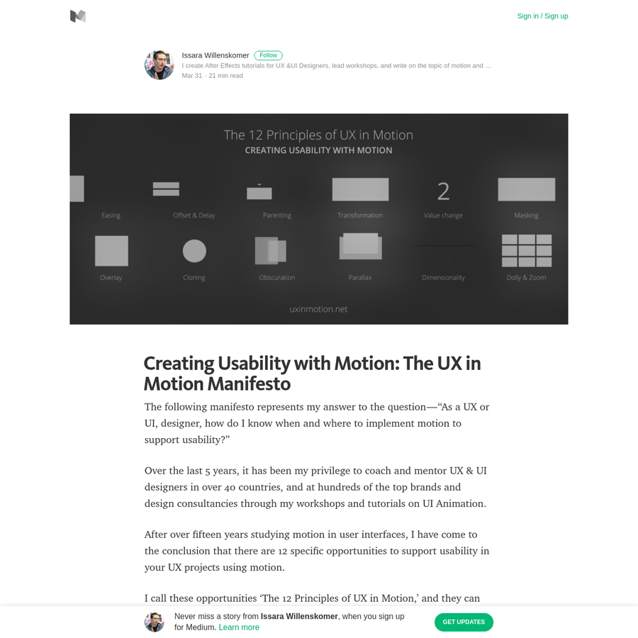 """The following manifesto represents my answer to the question-""""As a UX or UI, designer, how do I know when and where to implement motion to support usability?"""" Over the last 5 years, it has been my privilege to coach and mentor UX & UI designers in over 40 countries, and at hundreds of the top brands and design consultancies through my workshops and tutorials on UI Animation."""