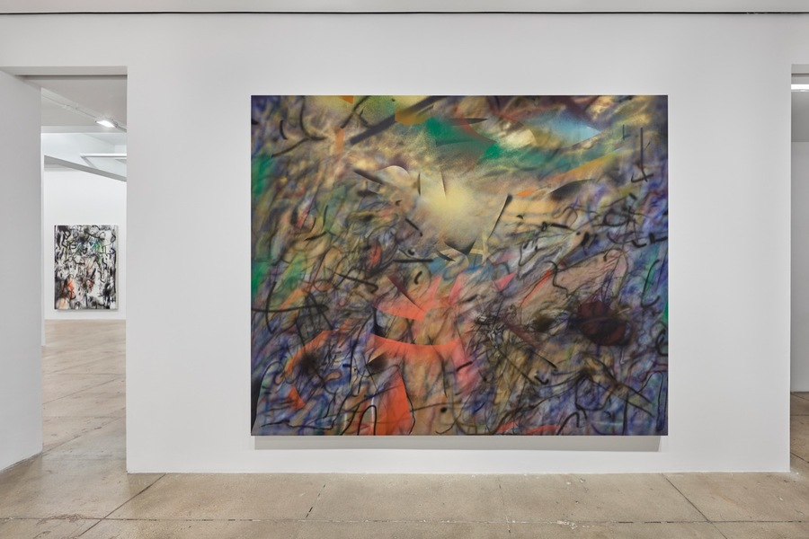 Julie Mehretu: about the space of half an hour, installation view. Pictured: Julie Mehretu, Conversion (S.M. del Popolo / after C.), 2019–20.