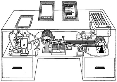 """Original illustration of the Memex from the Life reprint of """"As We May Think""""  Original illustration of the Memex from the Life reprint of """"As We May Think"""""""