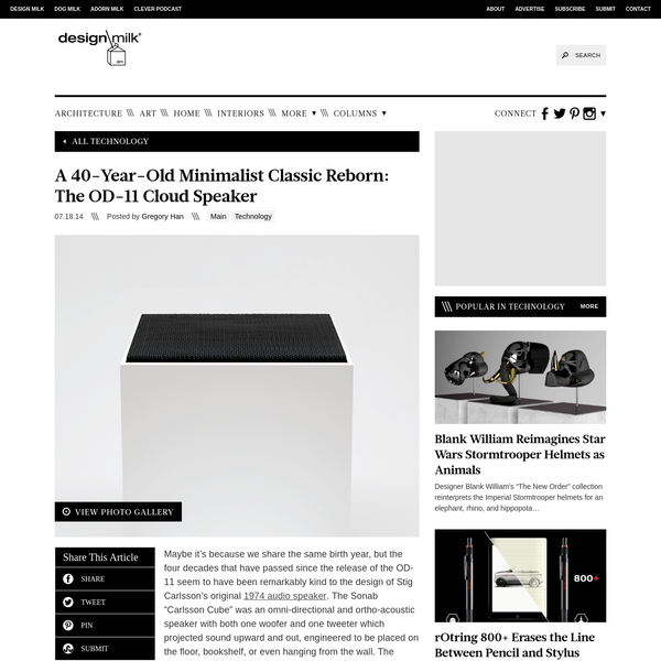 A Minimalist Classic Reborn: The OD-11 Cloud Speaker - Design Milk