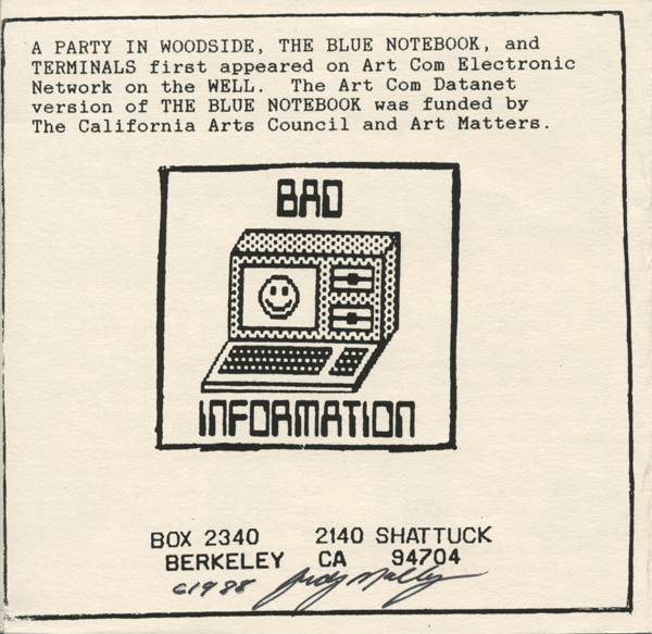 """Floppy disc insert from Judy Malloy's """"A Party in Woodside,"""" a three-part narrative database that premiered on the Art Com Electronic Network on  the WELL. Malloy was the first female artist-in-residence at Xerox PARC and collaborated with hypertext researcher Cathy Marshall on """"Forward Anywhere,"""" published by Eastgate Systems"""