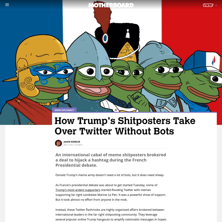 Donald Trump's meme army doesn't need a lot of bots, but it does need sheep. As France's presidential debate was about to get started Tuesday, some of Trump's most ardent supporters started flooding Twitter with memes supporting far right candidate Marine LePen. It was a powerful show of support.