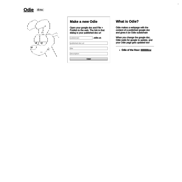 the Odie webnet ~~ make a webpage with the content of a google doc