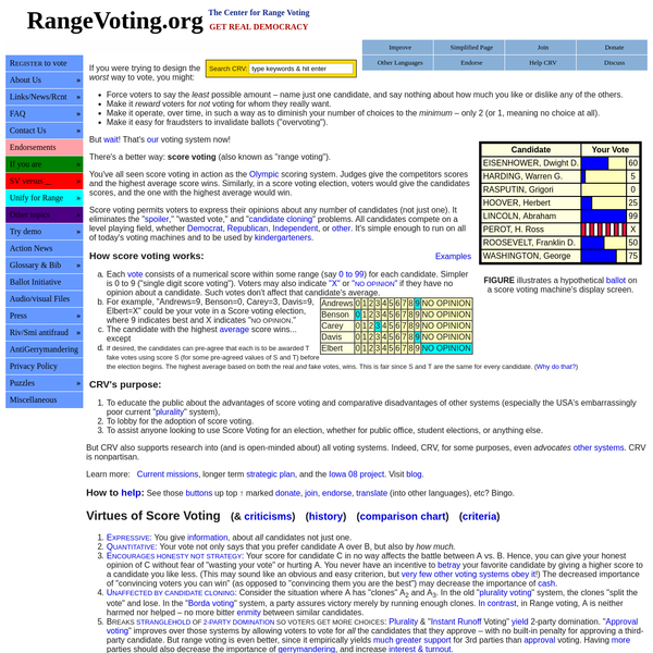 RangeVoting.org - Center for Range Voting - front page