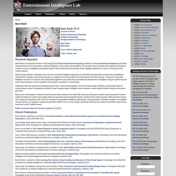 Mark Riedl | Entertainment Intelligence Lab