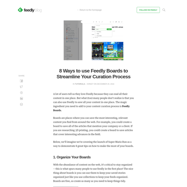 8 Ways to use Feedly Boards to Streamline Your Curation Process