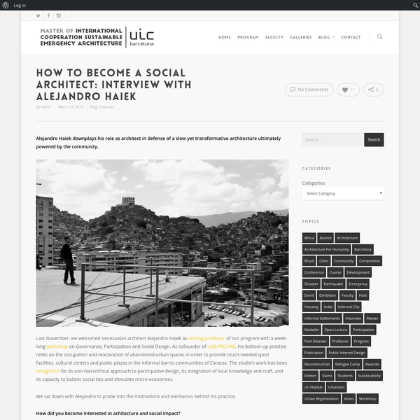 How to Become a Social Architect: Interview with Alejandro Haiek