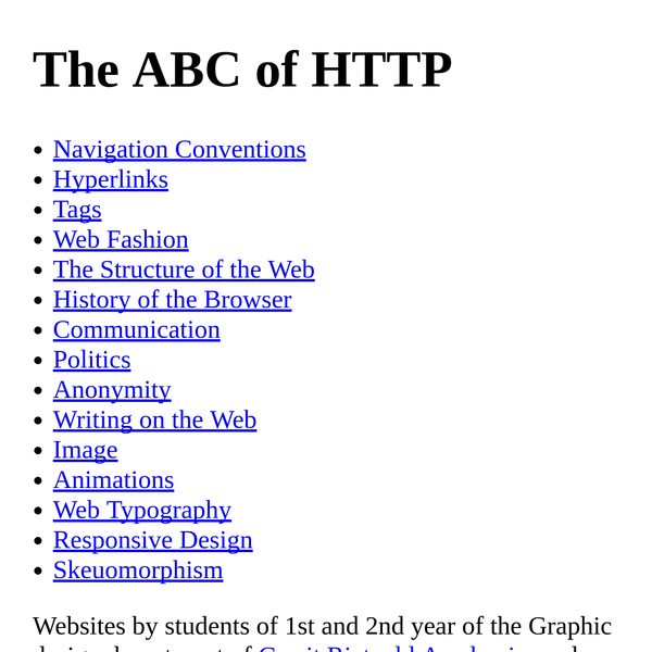 The ABC of HTTP
