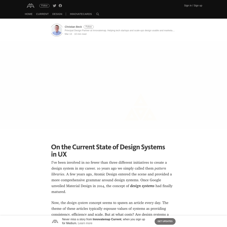 I've been involved in no fewer than three different initiatives to create a design system in my career. 10 years ago we simply called them pattern libraries. A few years ago, Atomic Design entered the scene and provided a more comprehensive grammar around design systems. Once Google unveiled Material Design in 2014, the concept of design systems had finally matured.