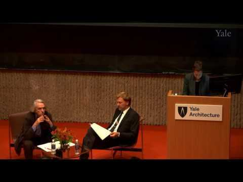 """J. Irwin Miller Symposium, """"Aesthetic Activism"""" Professor Jacques Rancière in conversation with Assistant Dean Mark Foster Gage in which they investigate the relationship between architecture and aesthetics; consider the role architecture and architects in social and political processes; discover potential new ways architecture can be used to promote social equality; and evaluate the historic role of architecture in forming hierarchical political structures."""